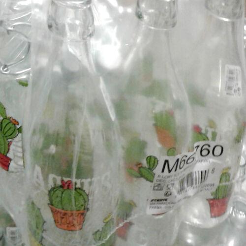 Set 6 pezzi Bottiglia 1Lt vetro Cerve Lory Cactus decoro fiori tappo meccanino
