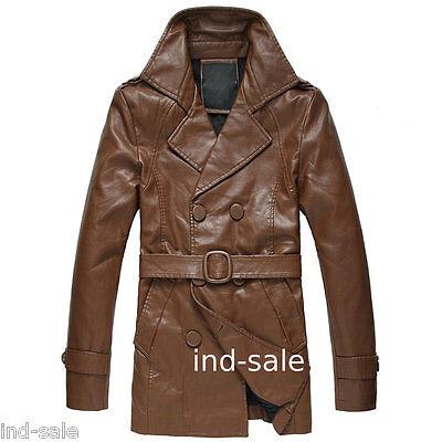 Custom Made All Size Genuine Blazer Leather Jacket Pea Coat Designer Brown