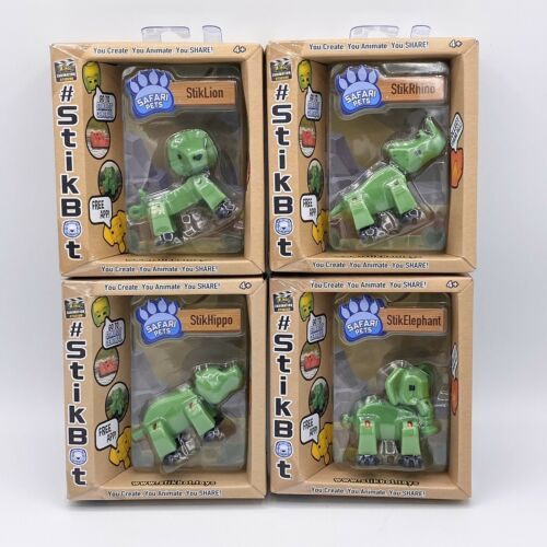 1 rhino /& 1 hippo chiffres vert 1 Lion 4 stickbot Safari Pets: 1 éléphant