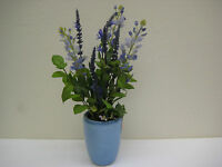 Blue Lavender Artificial Silk Flowers Arrangement In Blue Ceramic Vase