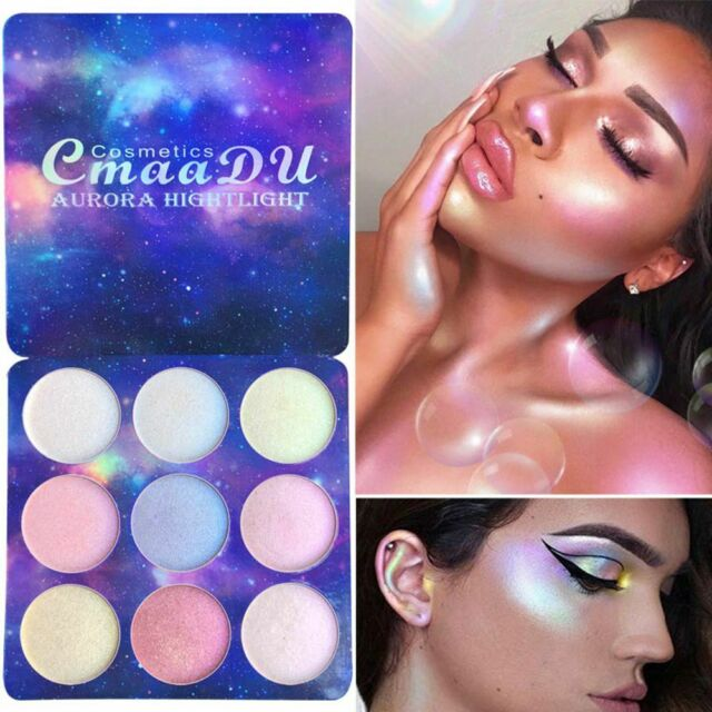 CmaaDu 9 Colors Highlighter Palette Makeup Powder Glow Kit Eye Shadow Palette