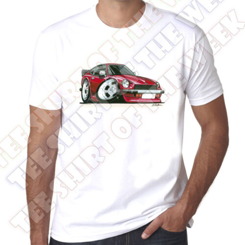 WickedArtz Cartoon Car Red Datsun 260Z 100/% Cotton White T-shirt