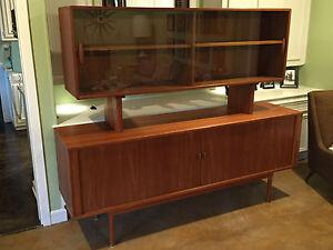Credenza Con Vidrio : Teca aparador con vidrio flotante extraíble hutch ebay