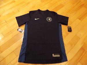 Large-L-Nike-Mens-Short-Sleeve-Shirt-Blue-NBA-Minnesota-Timberwolves-877450-419