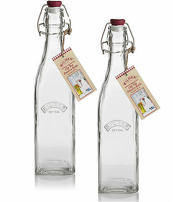Set Of 2 1000ml Kilner Swing Top Drinks Kitchen Preserving Glass Storage Bottles