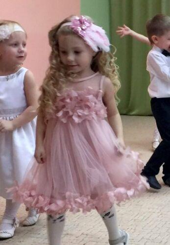 FREE Headband Jodie Baby Flower Girl Dusky Pink Dress Wedding Birthday Party