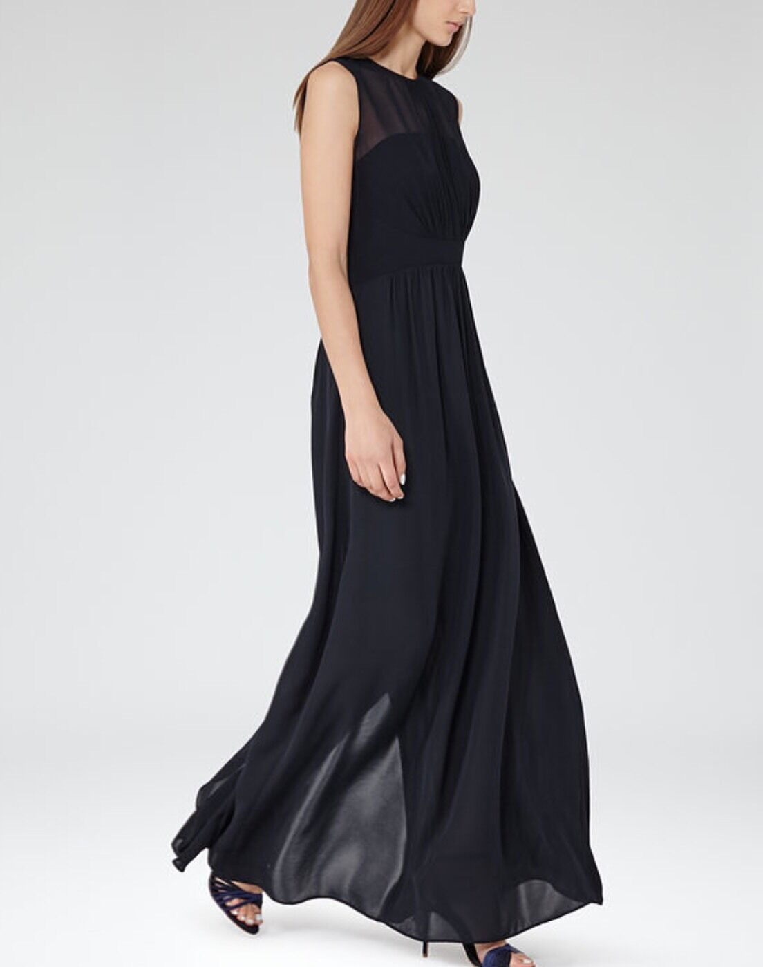 Reiss Clara Maxi Night Navy Sophisticated Sexy Gown Dress M RRP .00