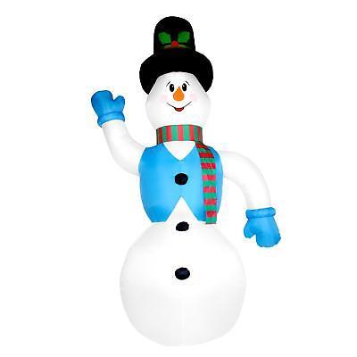 350cm Schneemann LED beleuchtet große Weihnachtsdeko Außendeko selbst aufblasend