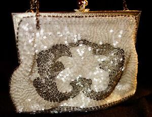 Détails sur Minaudière réticule ancien sac bal bourse bijou brodée perle en verre collection