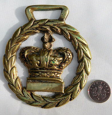 Vintage horse brass with Queen Victoria royal crown laurel wreath IMPERFECT