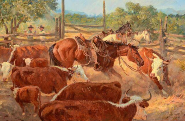 WESTERN RANCH HORSE COWS COWBOY COUNTRY CERAMIC TILE MURAL BACKSPLASH MEDALLION