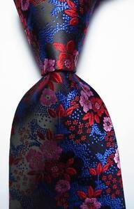 New-Classic-Floral-Black-Blue-Red-Pink-JACQUARD-WOVEN-Silk-Men-039-s-Tie-Necktie