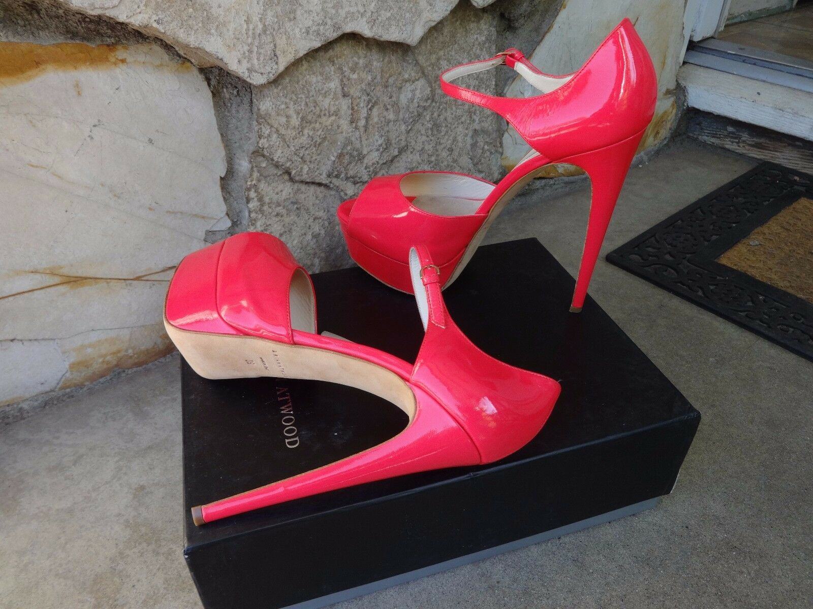 Brian Atwood Atwood Atwood TriBeCa  Authentic SkyHigh Platform Pumps Patent rose EU 39 8799eb