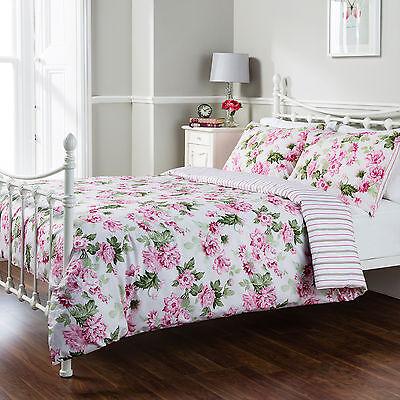 Pure Opulence Celine Floral Multi Stripe Duvet Quilt Cover Bedding Set