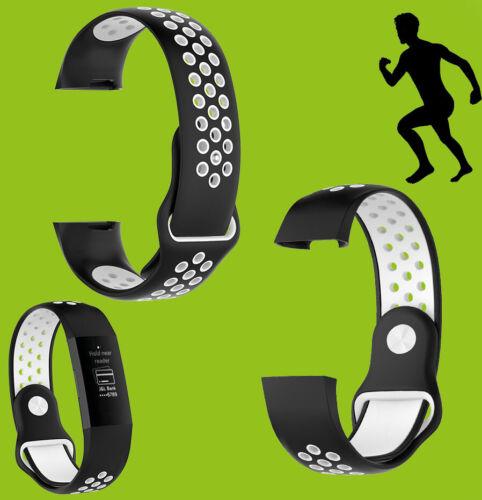 Für Fitbit Charge 3//4 Kunststoff Silikon Armband für Männer Größe L Schwarz-Weiß