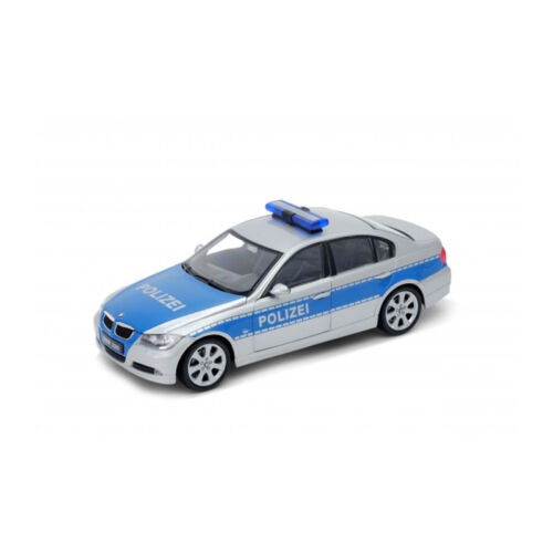 """Welly 22465 BMW 330i /""""POLIZIA/"""" ARGENTO//BLU scala 1:24 modello di auto NUOVO °"""