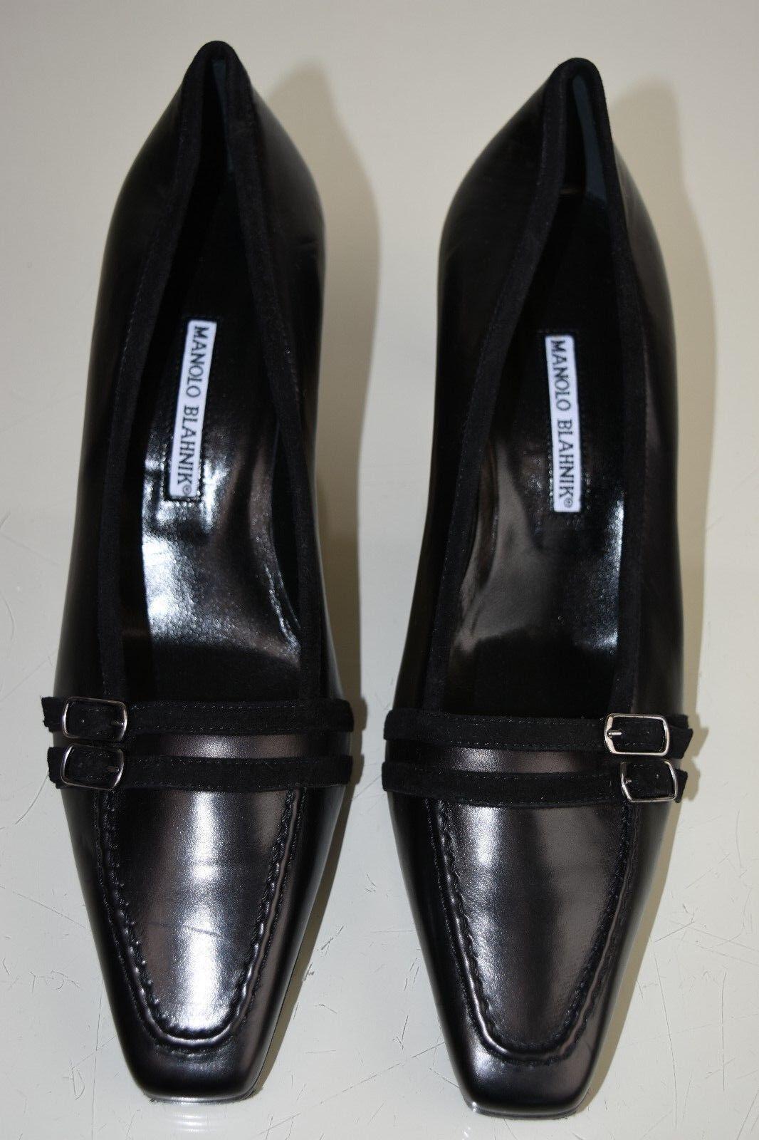 785 NEW MANOLO BLAHNIK PUMPS nero LEATHER Low HEELS scarpe 39.5 40.5