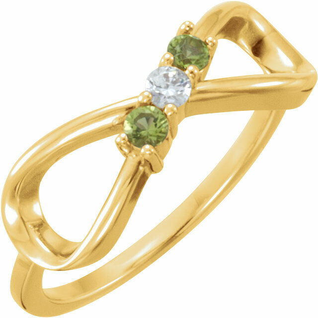 10K or 14K Solid gold Mother's Infinity-Inspired Ring 1 to 5 Birthstones
