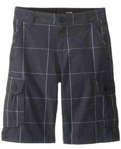 $42 Hurley One /& Only Boy's Size 14 Plaid Comfort Cargo Shorts Black 981272 NWT