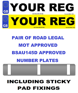Car Number Plates Gb Euro Front Rear Road Legal Inc Sticker