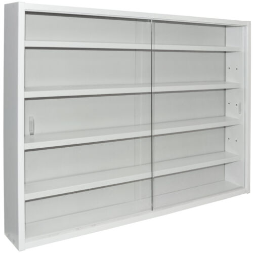REVEAL White MC0505 4 Shelf Glass Wall Collectors Display Cabinet