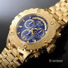 Invicta Subaqua Reserve Swiss Chrono 18k Gold IP Blue CF Dial 500m WR Mens Watch