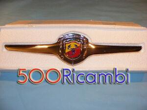 FIAT-500-F-L-R-MASCHERINA-METALLO-CROMATA-LOGO-STEMMA-ABARTH-SMALTATO-X-CALANDRA