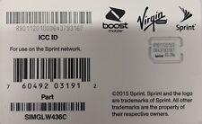 Sprint Virgin Boost Mobile Nano 4G LTE SIM Card SIMGLW436C for iPhone 6 6s