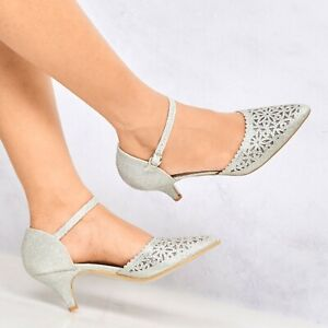 New-Ladies-Low-Kitten-Heel-Ankle-Strap-Party-Evening-Dancing-Prom-Pointed-Sandal