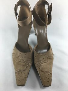 Enzo-Angiolini-Suede-Leather-Pointed-Toe-Ankle-Strap-Squared-Heels-Taupe-6-5-US