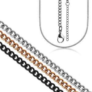 Halskette-Edelstahl-Gliederkette-Silbern-3mm-Herren-Herrenkette-Panzerkette