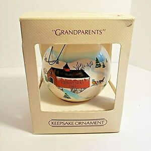 Vintage 1982 Hallmark Grandparents Glass Ball Ornament