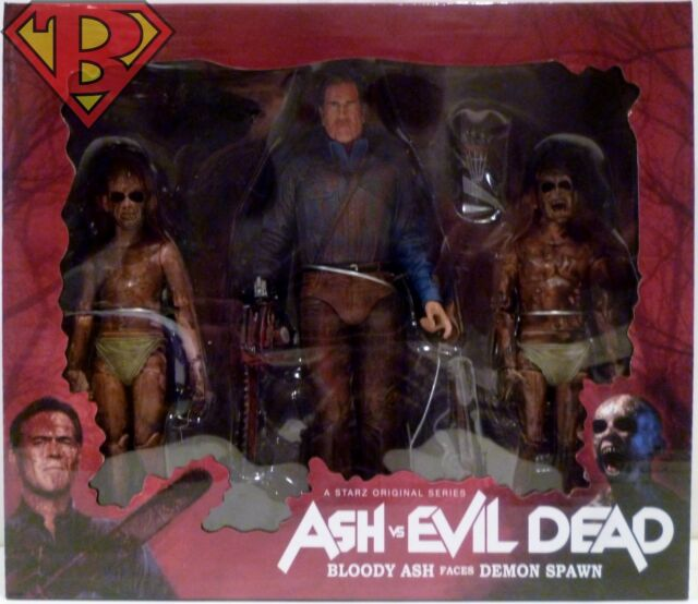 "Neca ash vs evil dead bloody ash vs demon spawn 3-pack 7/"" action figure en stock"