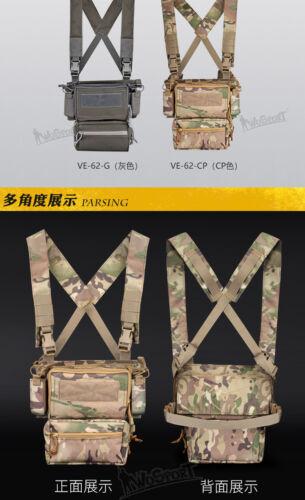 Quick Release Tactical Vest Chest Rig X-Harness Strap Drop Bag Mag Insert Set