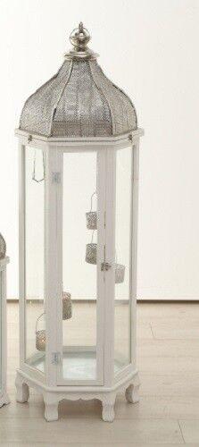 XXL Laterne Holz orientalisch Antiklook Weiß Glas 125 cm Geschenk Deko