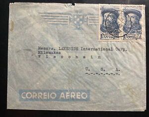 1944-Lisbon-Portugal-Airmail-Commercial-Cover-To-Milwaukee-WI-USA