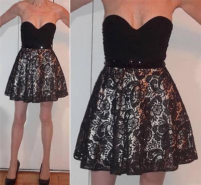 ABYSS by ABBY BABYDOLL STRAPLESS ILLUSION LACE MINI DRESS Gathered top BEADS 0