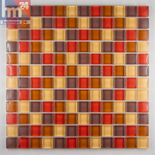 Glasmosaik Barcelona Mosaikfliese taupe rot braun gelb 29,5x29,5x0,8cm Bad Küche