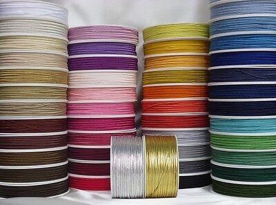 100/% Viscosa 3mm sólo £ 0.36p//m Cable Trenza trencillas conjunto de 55 Colores X 2 metros