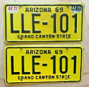 Details about 1969 ARIZONA LICENSE PLATE 2 PLATES MATCHING PAIR SET
