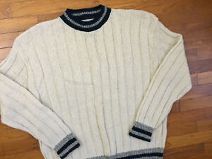Details about vtg 80s Trad Wool Ribbed Sweater men\u0027s XL cream natural  preppy made in usa 7423