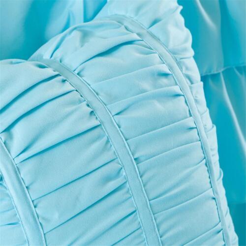 BEAUTIFUL MODERN WHITE TEAL AQUA BLUE RUFFLE GIRLS TUFTED SOFT COMFORTER SET