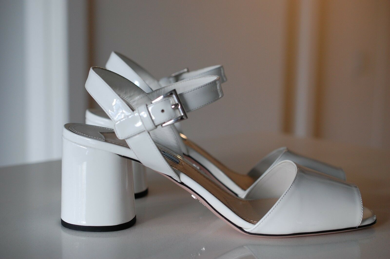 PRADA White Patent Leather Round Heel Ankle-Strap Sandal Pump shoes 9 US 40