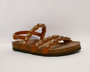 a1479cb19 Image is loading REBECCA-WHITE-BROWN-LEATHER-FLORAL-EMBELLISHED-STRAPPED- SANDALS-