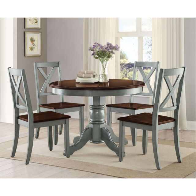 5 Piece Blue Brown Round Pedestal Dining Table Set Home Kitchen Furniture
