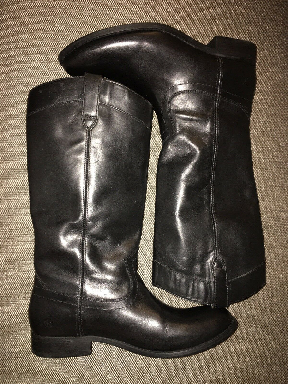 Frye Melissa Pull On On On Black Leather Riding Boots Women's 7 B Style   46979 45a41e