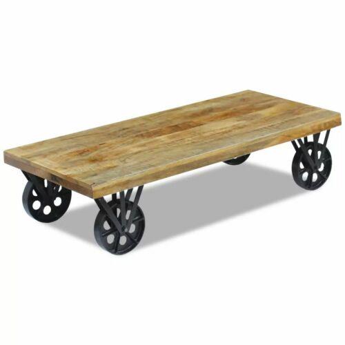 vidaXL Table basse pour salon Table d/'appoint en bois de manguier 120x60x30 cm