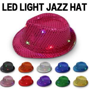 Flashing Light Up Led Fedora Trilby Sequin Unisex Fancy Dress Dance ... da9e0b73d9f6