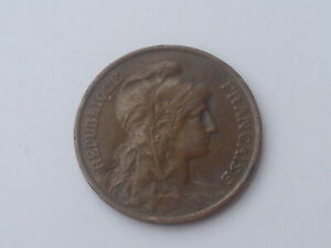 Vintage ! 1 pc Francs / France 1920 - France 5 centimes Bronze coin  (#143-L)