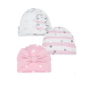 9d6eacc51 Details about gerber Baby Girl 3-Pack Organic Cotton Pink Caps Size 0-6M